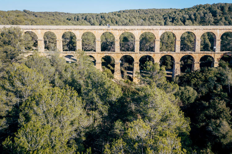 High Angle View Of Les Ferreres Aqueduct Against Clear Sky