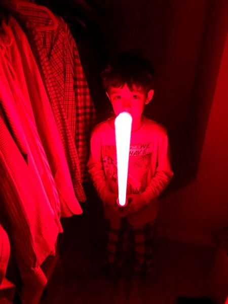 """""""May the Force be with you"""" Star Wars Red Illuminated One Person Indoors  Real People Close-up Lifestyles"""