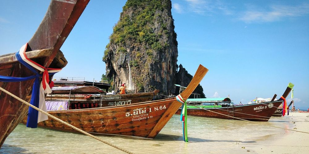 Longtail Boats Travel Destinations Travel Thailand Thailand_allshots Thailand🇹🇭 Thailand_allshots_nature Thailand Photos Thailandtravel Happiness Railey Beach EyeEm Selects EyeEmNewHere Nautical Vessel Water Sea Beach Sky Boat Fishing Boat Longtail Boat Krabi Water Vehicle