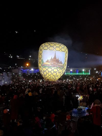 Arts Culture And Entertainment Night Crowd People Large Group Of People Outdoors Popular Music Concert Fan - Enthusiast Sky Taunggyi Hot Balloons Festival Event Nightlife