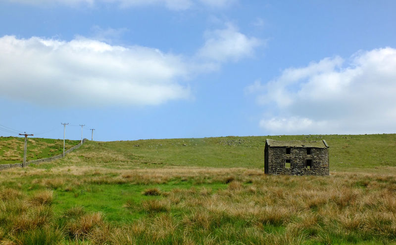 an old abandoned stone farmhouse in green pasture on high pennine moorland with bright blue sky Farmhouse Field Architecture Built Structure Cloud - Sky Day Derelict Building Environment Field Grass Horizon Over Land Land Landscape Meadow Nature No People Non-urban Scene Outdoors Plant Rural Scene Sky Tranquil Scene Tranquility Turbine Wind Turbine