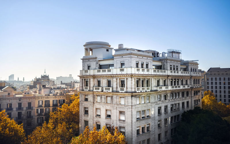 Residential architecture in Barcelona Architecture Building Exterior Built Structure Sky City Building No People Travel Destinations Outdoors Residential District Apartment Day Clear Sky Nobody Bright Cityscape Long Shot Sunlight