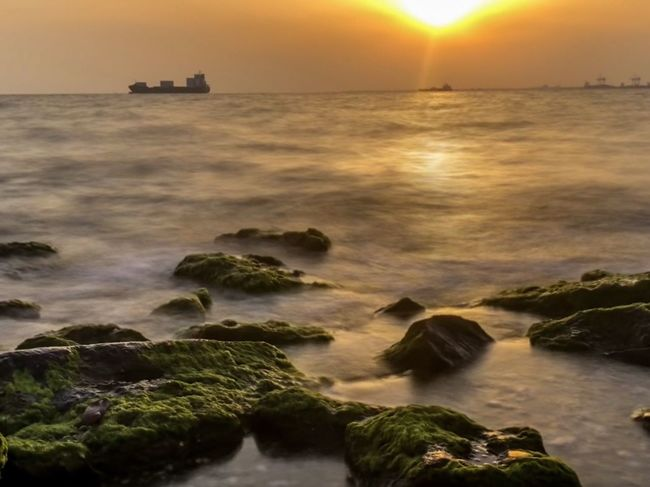 Green rocks near a sea in a sunset day afternoon Thessaloniki Greece Water Sea Sunset Sky Beauty In Nature Scenics - Nature Motion Rock Nature Rock - Object Long Exposure Solid Horizon No People Land Beach Wave Nautical Vessel Horizon Over Water Idyllic