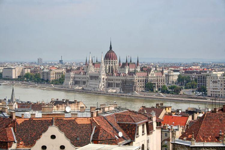 Danube River In City Against Clear Sky