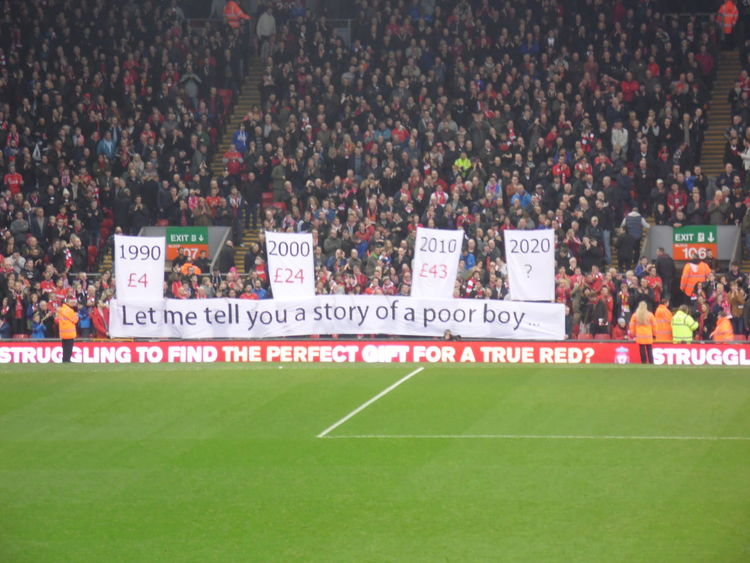 Liverpool fans protest over the rising cost of match day ticket prices in the Kop end at Anfield. Anfield Fans Kop Liverpool Football Club Liverpoolfc Prices Protest Stadium Ticket