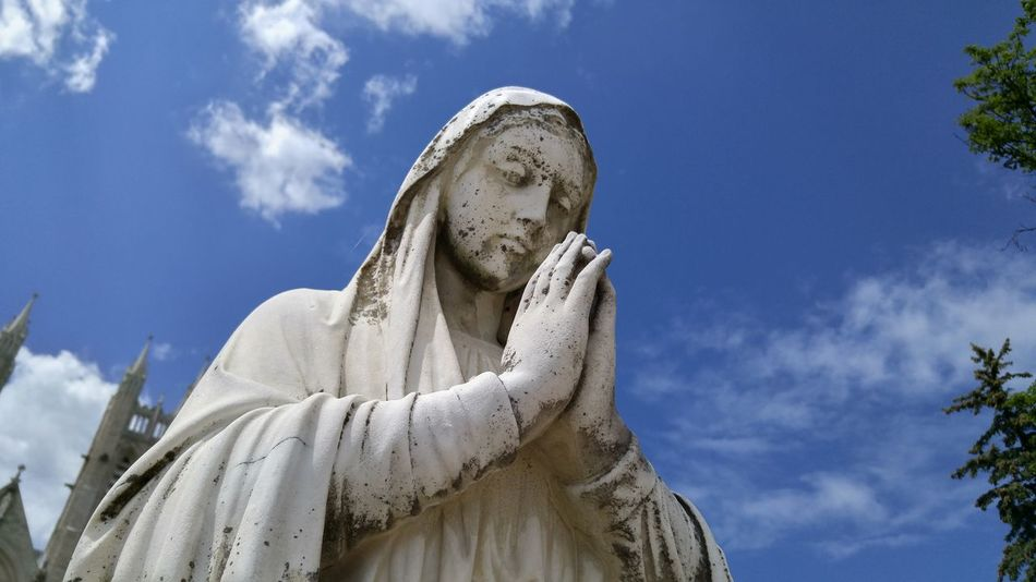 Sky Religion Cloud - Sky Spirituality Statue Low Angle View Outdoors Day Close-up Mary Virgin Mary Catholic White White Stone Tranquility