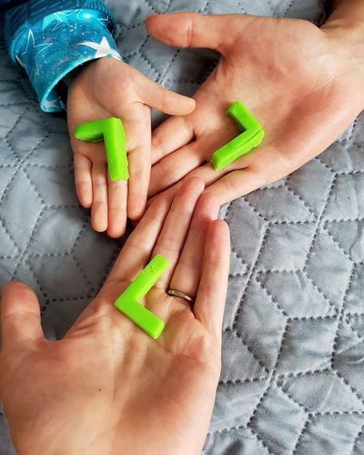 Human Body Part High Angle View Human Hand Indoors  People Lifestyles Child Adult Togetherness Close-up Young Adult Day Nail Polish Green Color L Letters Tripple Family Power Of Three  Triangle Triology Trio Love The Week On EyeEm EyeEm Gallery