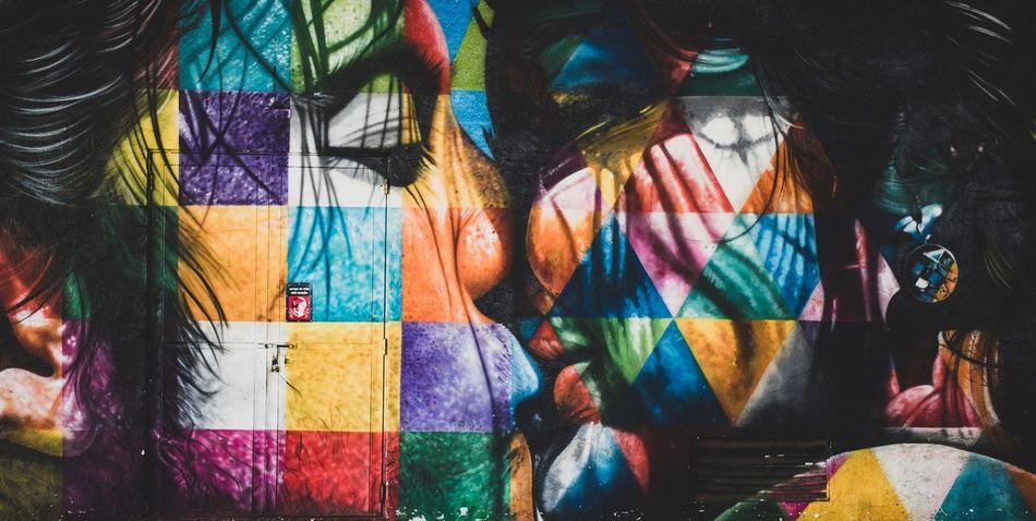 Love in Colours | Wall Paint Art Multi Colored Creativity Art And Craft Graffiti No People Pattern Day Full Frame Wall - Building Feature Backgrounds Close-up Representation Outdoors Human Representation Hanging Street Art Textile Retail  Variation