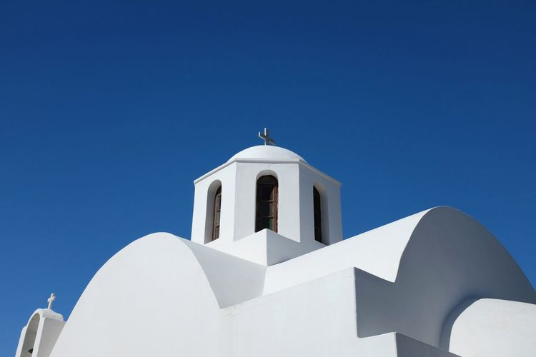 Church Shape Shapes Architecture Blue Blue Sky Clear Sky Cyclades Day Greece Low Angle View No People Outdoors Religious Architecture Santorini Sky The Graphic City