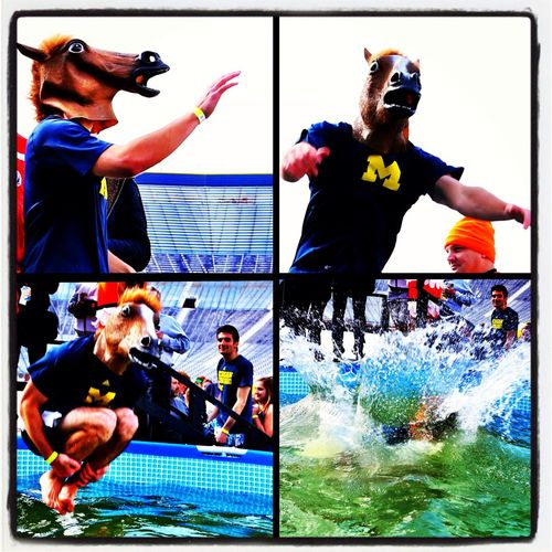 Wearing a horse mask, Todd Gregory, 28 of Farmington, Michigan jumps into an ice cold pool at Michigan Stadium to supports the Special Olympics. Gregory who raised $200 was one of over 300 that had fun getting cold & wet for a good cause.