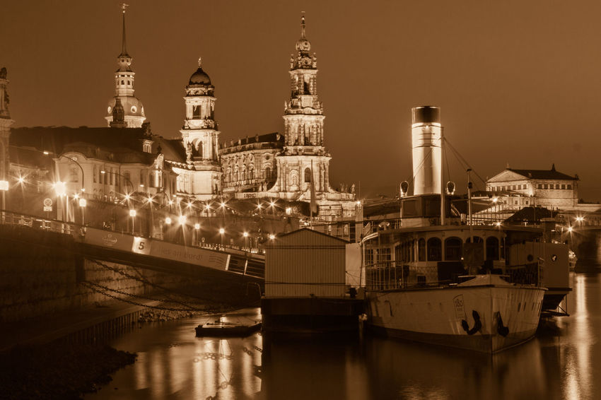 Night Lights Nightphotography Reflection Silhouette Steam Architecture Building Exterior Built Structure Clear Sky Dome Illuminated Nautical Vessel Night Nightlife No People Outdoors Place Of Worship Religion Sepia Ship Sky Spirituality Travel Destinations Water Waterfront