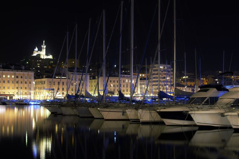Marseille Harbor Illuminated Marsiglia Moored Nautical Vessel Night Outdoors Reflection Transportation Water Waterfront Yacht