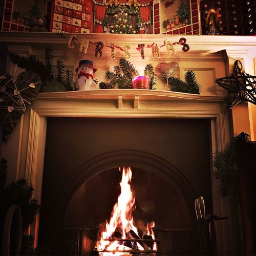 Indoors  Flame No People Tree Day Christmas Decoration Christmas Lights Christmastime Decorations Fireplace Home Home Interior Decoration Fire Cosy Design Tranquility