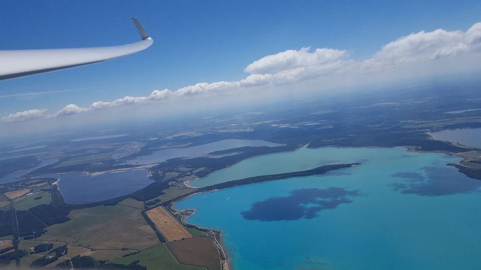 Lausitz Tagebau Renaturierung Renatured Coal Mine Lake Blue Türkises Wasser Cyan Cyan Lake Gliding Wing Clouds Cloud Shadows