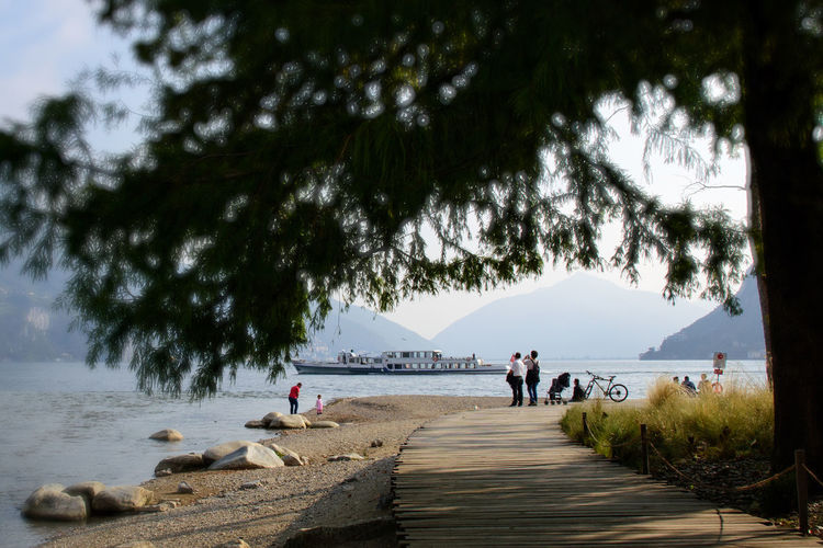 Mouth Pedestrian Walkway Riverside Tourists Boat Outfall Park Real People River Mouth Shore Tree Water