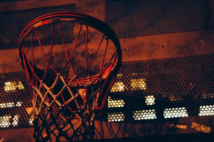 Shoot the lights out Basketball - Sport Basketball Hoop Night No People Sport Illuminated Net - Sports Equipment Outdoors Wall - Building Feature Low Angle View Sports Equipment