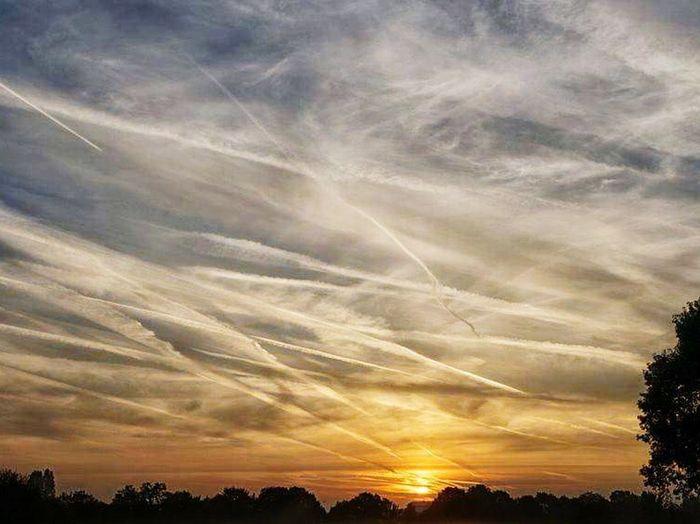 Sunset Cloud - Sky Chemtrails Agenda 21 Aerosols Chemtrails GeoEngineering Whatthefuckaretheyspraying Chemical Sky Air Pollution