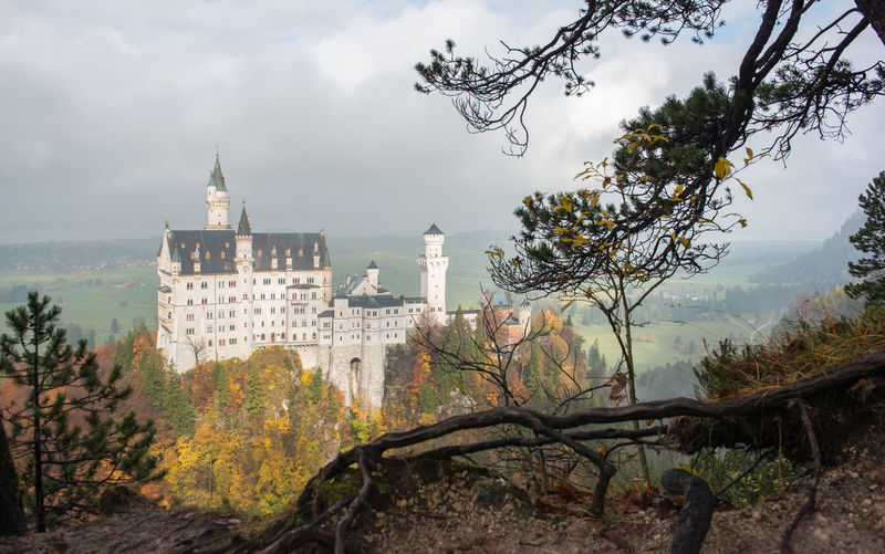 Neuschwanstein Castle with Autumn colors, Fussen, German Tree Building Exterior Built Structure Architecture Plant Sky Nature Cloud - Sky Building Religion Travel Destinations No People History Place Of Worship Day The Past Belief Travel Outdoors Spirituality Change
