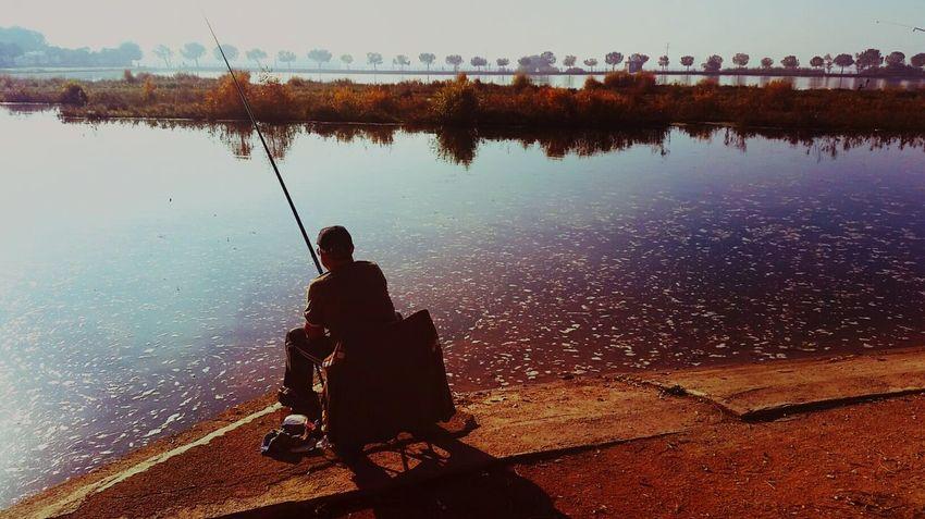 Fishing Fisherman Lake Landscape_Collection Manresa Parc De L'Agulla  Hobby