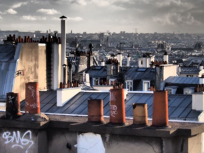 Skyline Chimneys Pots Chimney Tops Built Structure Architecture
