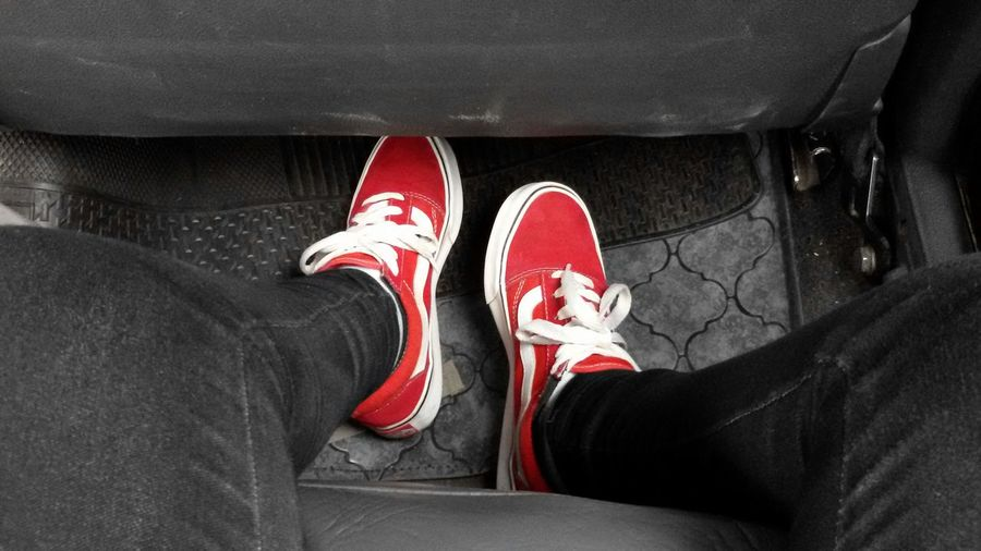 Red Shoes Inthecar Blackandred