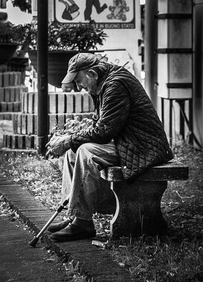 Abbandoned Fragility Of Life Old Man Portrait Solitude And Silence Real People One Person Sitting Lifestyles Day Leisure Activity Adult Emotion Outdoors