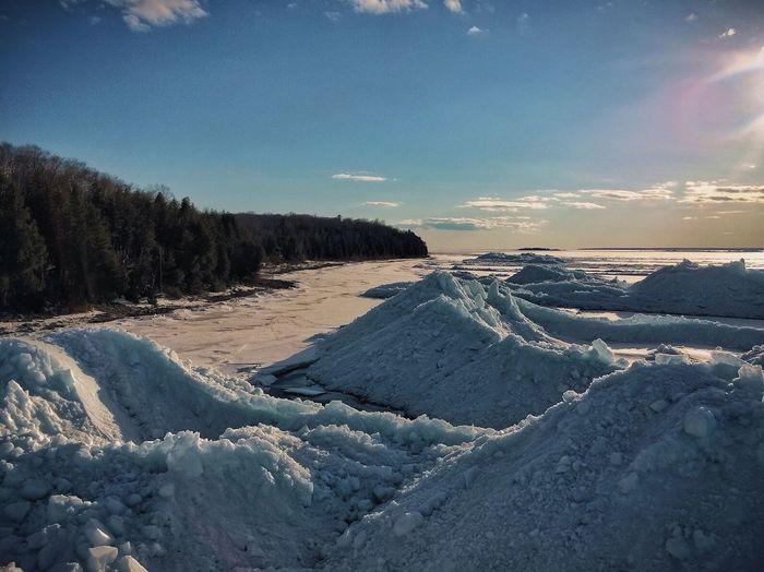 Frozen Water Shoves on Lake Michigan Door County Wisconsin IPSWater