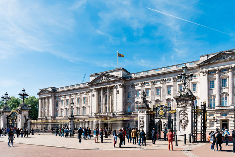 Buckingham Palace a sunny day at springtime Brexit Britain Buckingham Buckingham Palace London Queen Uk Architecture Blue British Building Capital City Culture Destinations Elizabeth England English Europe European  Famous Great Guard Historic History KINGDOM Landmark Monarchy Monument Old Palace People Place Royal Royalty Sightseeing Sky Statue Sunny Tourism Tourist Tradition Traditional Travel United Weather Westminster