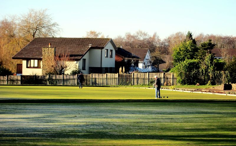 Winter woods Grass Lawn Tree House Sky Outdoors Day Nature Clear Sky Chorley Astley Park Landscape Bowls Winter Sports Bowling Green