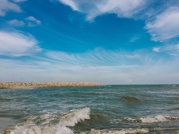 sky view. A beautiful formation of clouds. Beach Beauty In Nature Blue Day Horizon Over Water Nature No People Outdoors Scenics Sea Sky Tranquil Scene Tranquility Water Wave