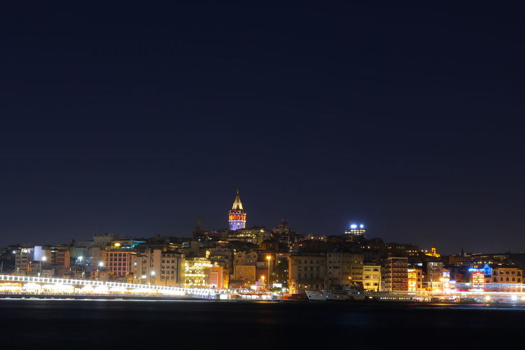 Galata Tower Istanbul Architecture Building Exterior Built Structure City Cityscape Galata Illuminated Night No People Outdoors Sky Travel Destinations Water