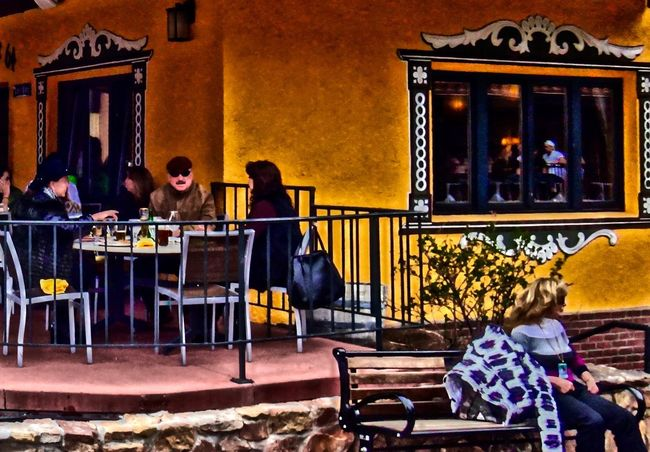 Architecture Bench Benches Building Exterior Built Structure Cafe Chair Day Full Length Leisure Activity Lifestyles Men Outdoors People Real People Relaxation Sitting Spring Springtime Table Vail  Vail Colorado Vail,co Window Women