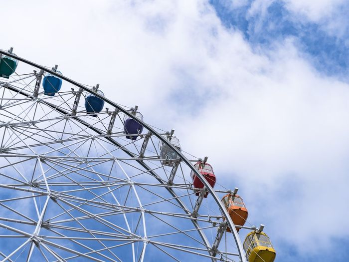 Circle Amusement Park Ride Amusement Park Sky Ferris Wheel Arts Culture And Entertainment Low Angle View Cloud - Sky Day Fairground Leisure Activity Large Nature Outdoors No People Enjoyment Built Structure Metal Architecture Fun Spinning