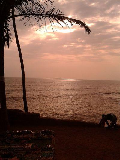 EyeEmNewHere Seashore Evening Glow Seashore Sunset Coconutpalm Let's Go. Together.