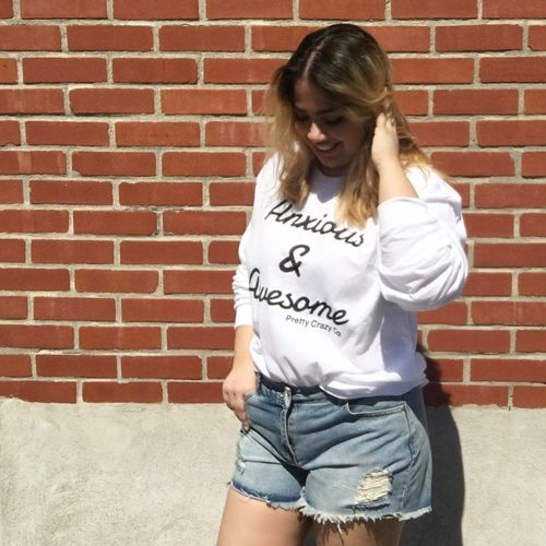 anxiety disorder awareness shirt young girl Anxiety  Anxiety Disorder Architecture Brick Wall Built Structure Casual Clothing Lifestyles Long Hair Mental Health  Mental Health Awareness One Person Real People Text Young Adult Young Women