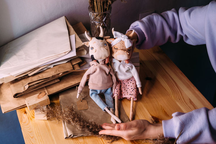 High angle view of people with toy at home