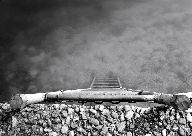 No People Outdoors Nature Close-up The Week On EyeEm EyeEm Best Shots EyeEm Selects EyeEm Gallery First Eyeem Photo Black & White Photography Black & White Monochrome Photograhy My Point Of View Ladder Ladders Ladder To Water Metal Structure Water Nautical Vessel
