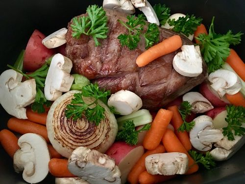 Vegetable Beef Slow Cooking Stew Slowcooker Food And Drink Food Freshness Vegetable Root Vegetable Herb Carrot Healthy Eating Meat Mushroom Raw Food Still Life High Angle View Variation Edible Mushroom
