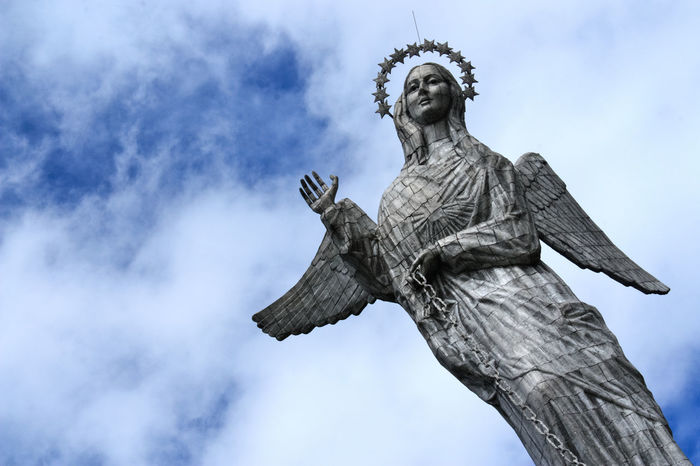 Virgin of Quito Art Art And Craft Blue Sky Clouds Cloudy Creativity Ecuador Ecuador♥ Eye4photography  Flying Human Representation Low Angle View Peace Peace And Quiet Peaceful Religion Sculpture Sky Southamerica Spirituality Statue Statue Statues Statues And Monuments Virgin Of Quito