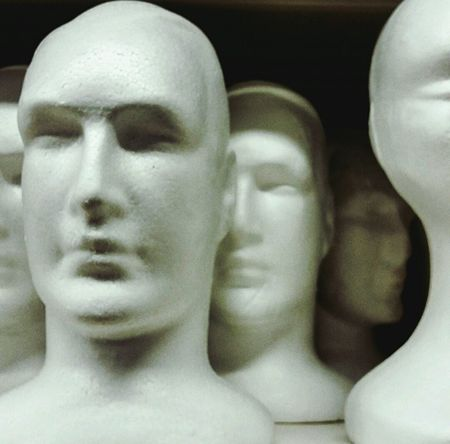 Human Representation Close-up Indoors  Face Faces Fake Multiple Faceless Artandcrafts Crafts Plain Exterior Retail  Serious Man Made Object Shelf Merchandise