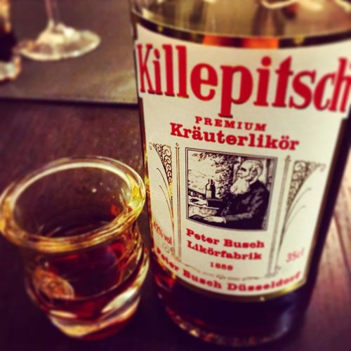 Killepitsch Happynewyear2015 Food And Drink Refreshment Text Indoors  Drink Close-up Communication Western Script Glass No People Food Drinking Glass Still Life Glass - Material Selective Focus Household Equipment Focus On Foreground Alcohol Bottle