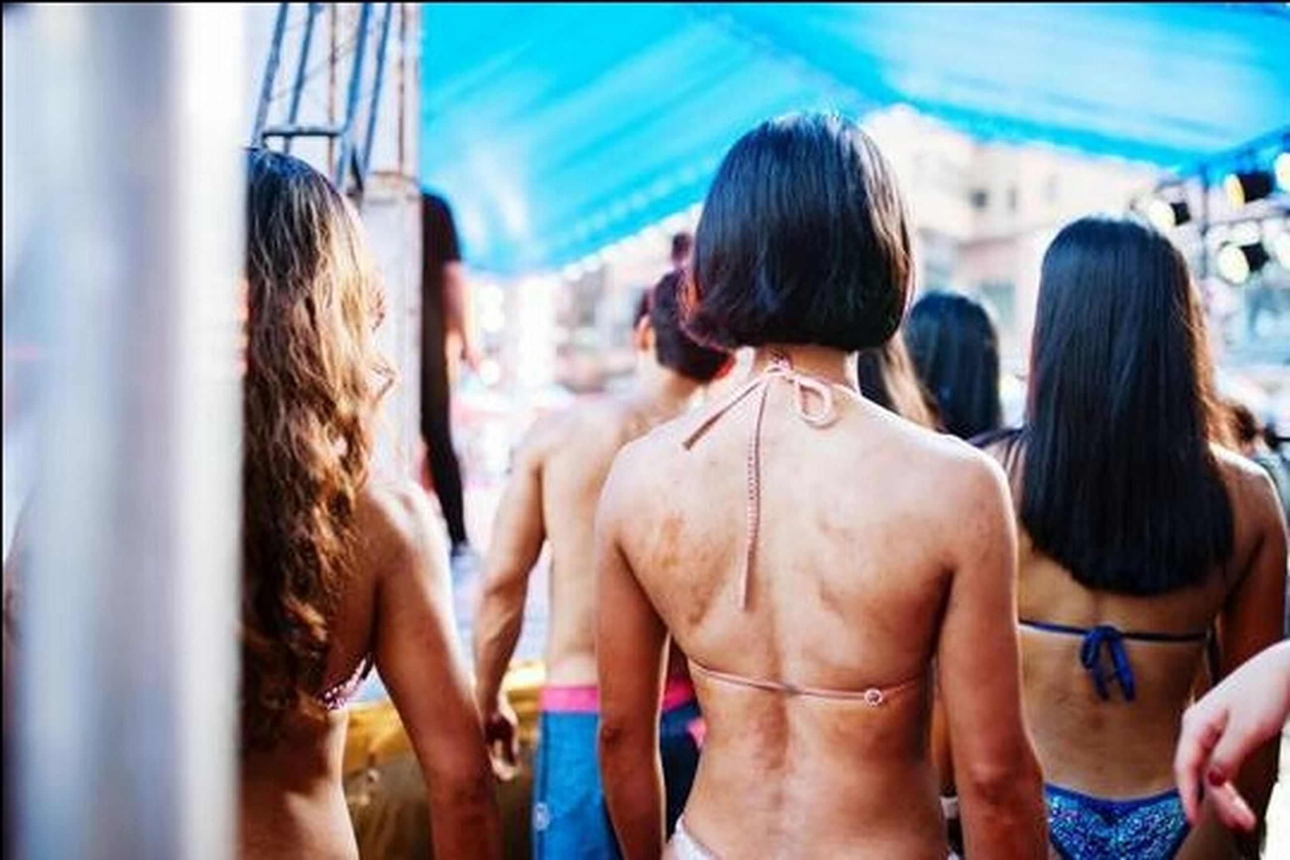 rear view, adult, young adult, women, group of people, trip, clothing, vacations, people, friendship, human back, togetherness, event, emotion, young women, hair, summer, brown hair, standing, fun, hairstyle, semi-dress