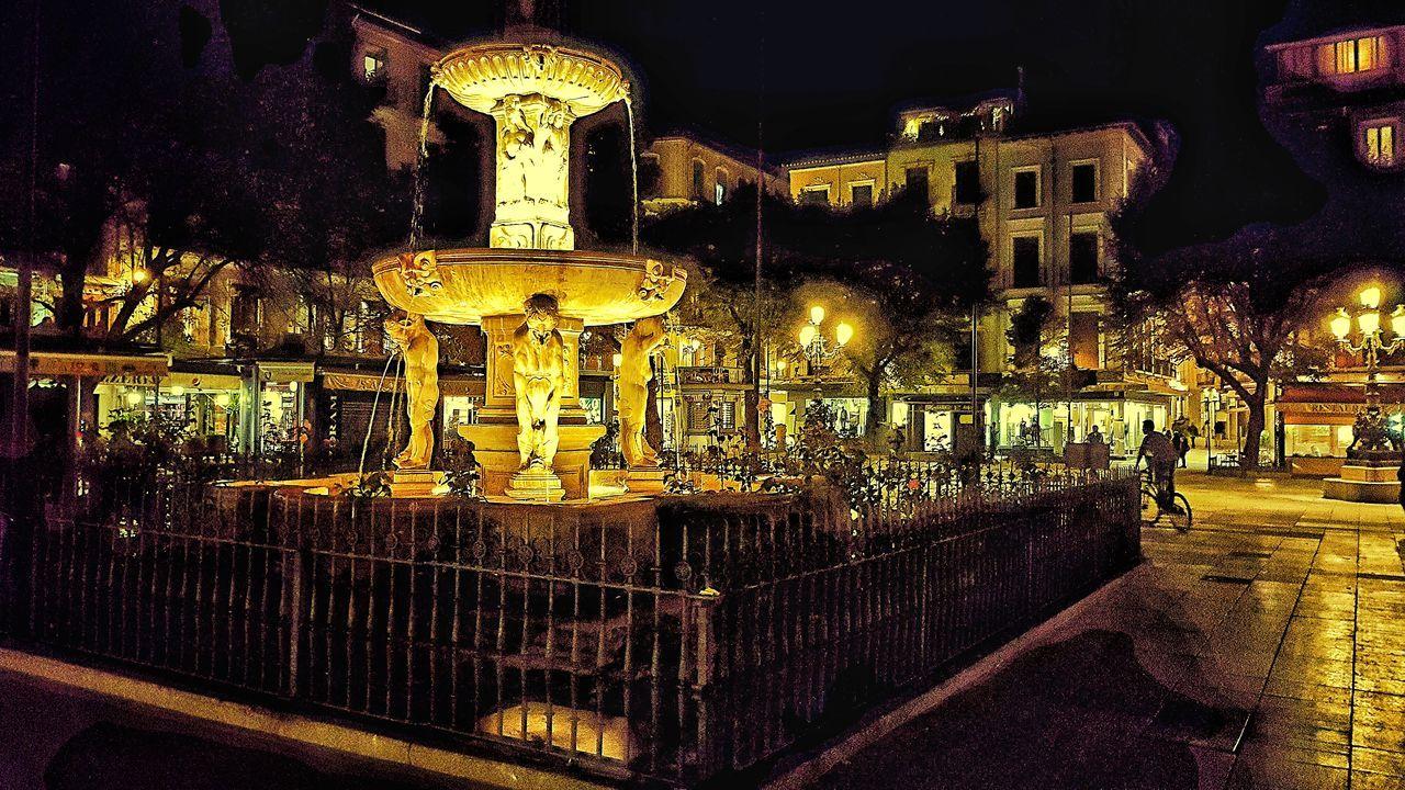 Gold Colored City Illuminated Outdoors Night Granada Square Andalusia Spain🇪🇸 Travel Plaza Bib-Rambla Travel Photography Town Town Life
