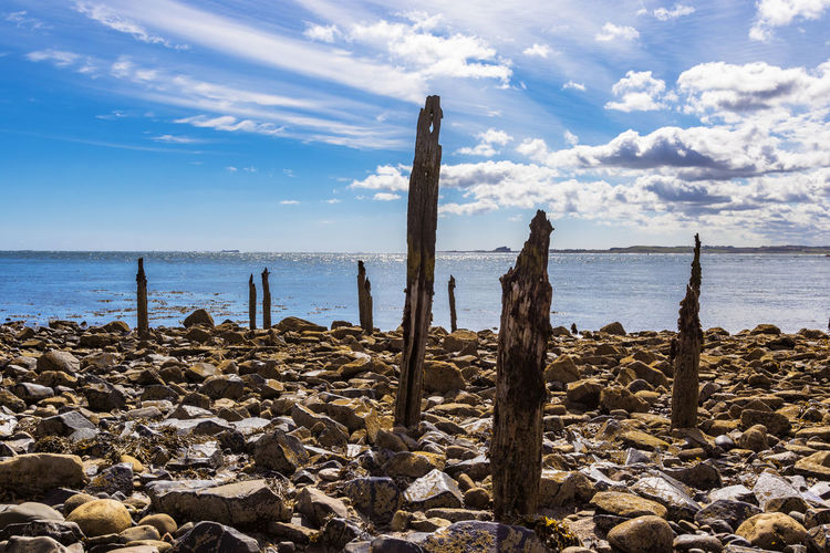 Bamburgh view Beach Beauty In Nature Cloud - Sky Day Horizon Over Water Nature No People Outdoors Sand Scenics Sea Sky Tranquil Scene Tranquility Water Wooden Post
