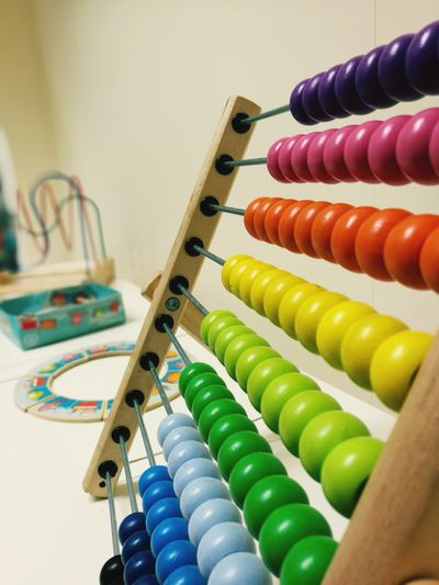 Low Angle View Of Colorful Abacus At Home