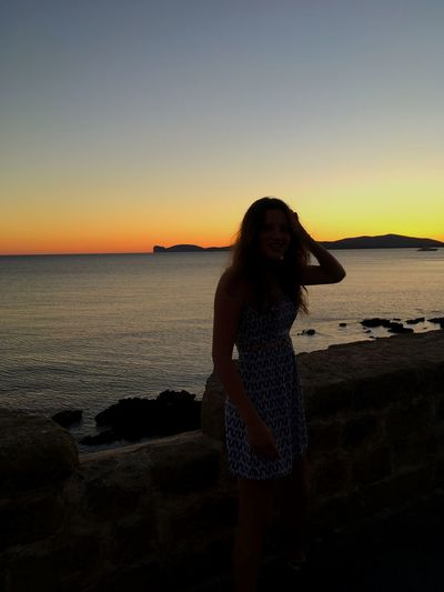 Italian nights Italian Night Italy View Sunset Sunset Silhouettes Nature Sky Water Sunset Sea Beach Real People Leisure Activity Lifestyles One Person Young Adult Land Three Quarter Length Young Women Standing Beauty In Nature Nature Outdoors Horizon Over Water