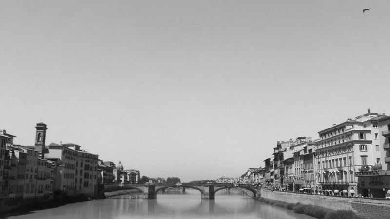 Architecture Arno  Arno River Black & White Black And White Bridge - Man Made Structure Building Building Exterior Built Structure City City Life Clear Sky Day Firenze Florence Florence Italy Italy No People Outdoors Residential District River Sky Toscana Toskana Water