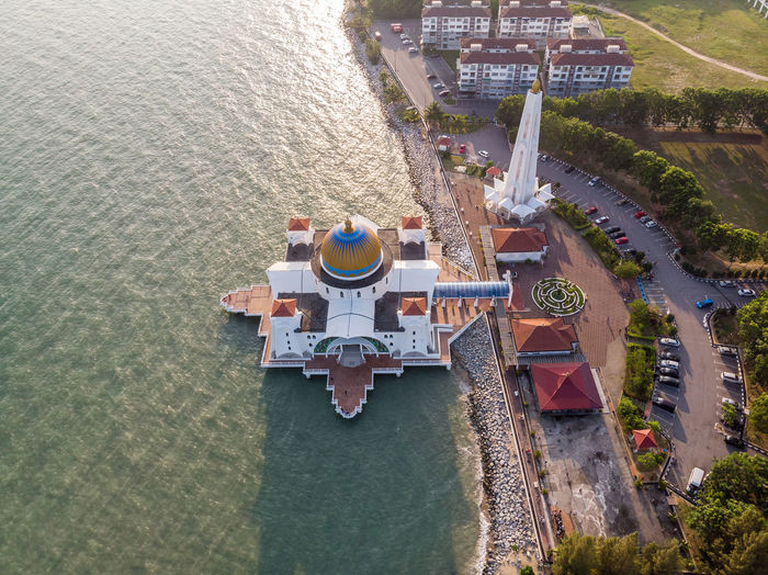 Malacca Straits Mosque, Malaysia High Angle View Water Architecture Nature Day Built Structure No People Travel Sea Outdoors Building Exterior Aerial View Travel Destinations Malacca Melaka Straits Mosque Mosque Malaysia Mountain