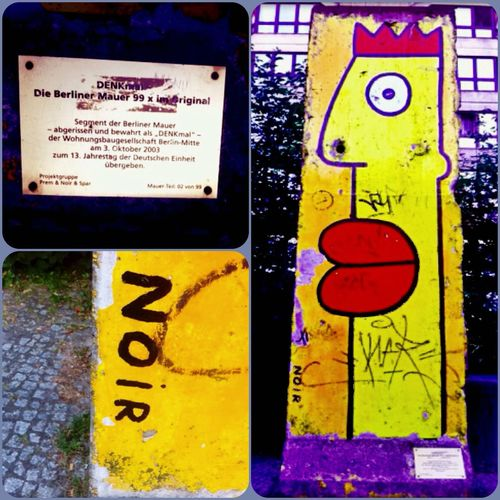 "Original Part from the Berlinwall / Berliner Mauer , with Spraycan Art from the Streetart / Street Art Artist "" Noir "" 