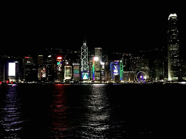 Night Illuminated Architecture Skyscraper Modern Building Exterior Cityscape Urban Skyline City Built Structure Travel Destinations No People Water Outdoors Sky Hong Kong HongKong Victoria Harbour Victoria Harbor
